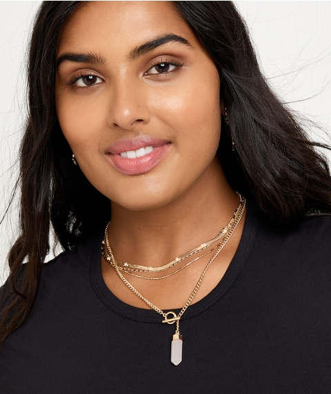 GOLD STONE & CHAIN NECKLACE