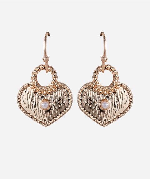 GOLD HEART HOOK EARRINGS
