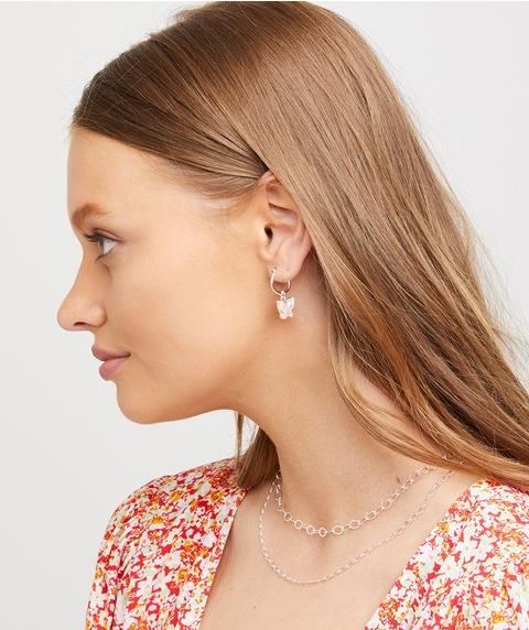PINK BUTTERFLY HOOP EARRING
