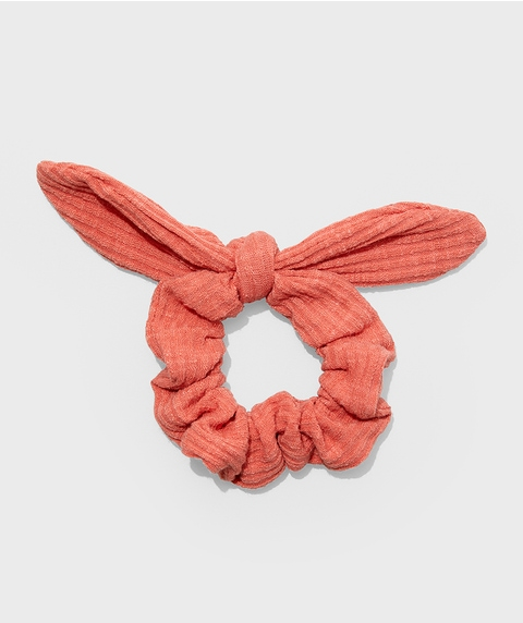 ROSE RIBBED BOW SCRUNCHIE