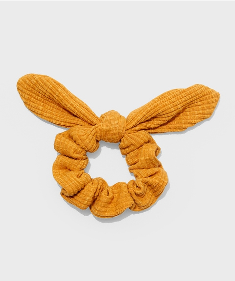 MUSTARD RIBBED BOW SCRUNCHIE