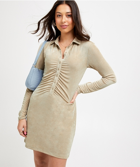 RUCHED BUTTON FRONT MINI DRESS
