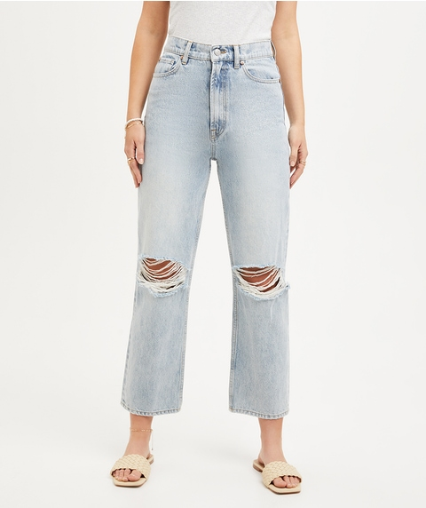 THE CROP STRAIGHT DISTRESSED JEAN