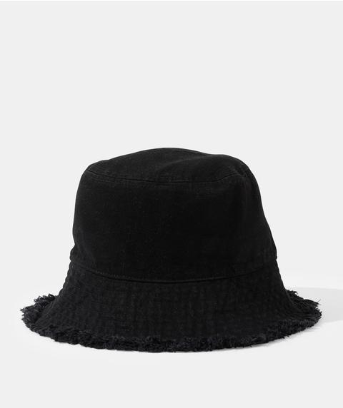 LOLA DENIM FRAYED BUCKET HAT