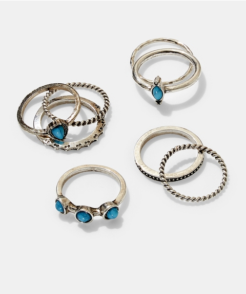 SILVER TURQUOISE RING PACK