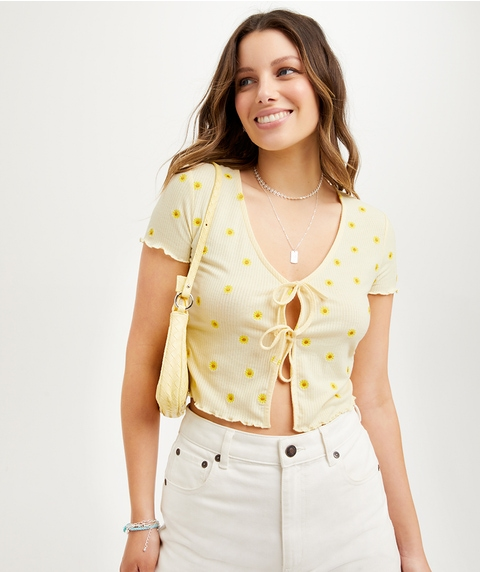 RIB TIE UP EMBROIDERED SHORT SLEEVE TOP