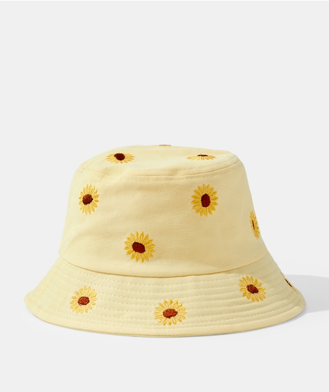 SUNFLOWER EMBROIDED BUCKET HAT