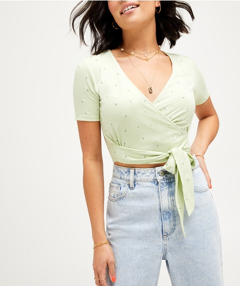 SHORT SLEEVE EMBROIDERED WRAP TOP
