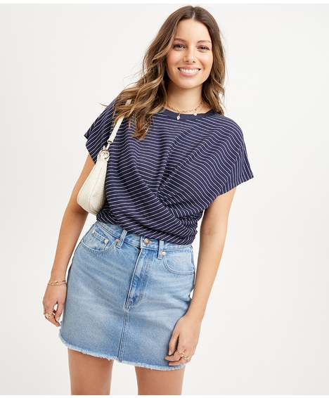 CLAIRE TWIST FRONT SHORT SLEEVE TOP