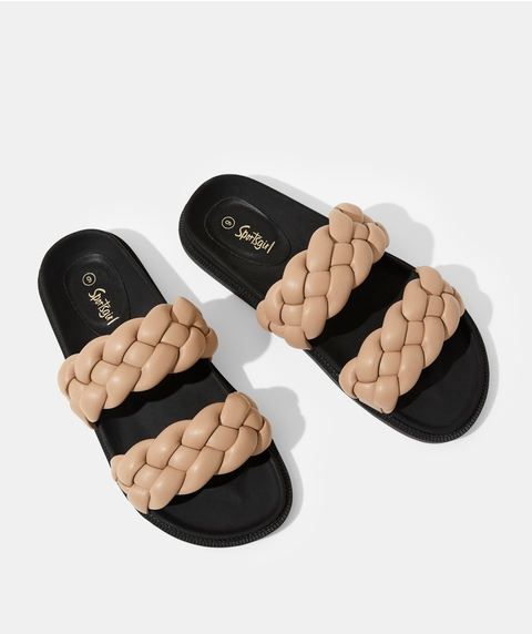 LUCY BRAIDED SLIDE - CAMEL