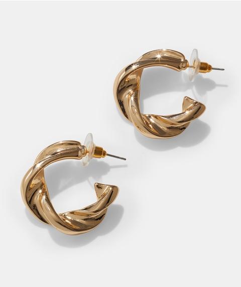 GOLD TWISTED HOOP EARRINGS