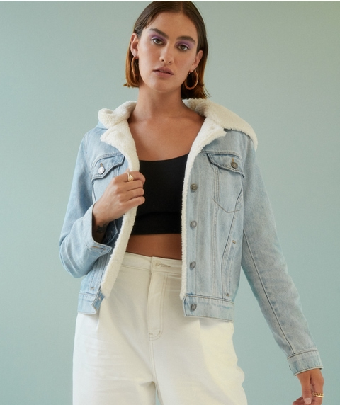 SHEARLING COLLEGE DENIM JACKET